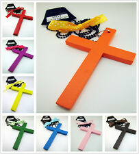 Free Sweet Beaded chain big wooden cross Pendant sweater Necklace Many color HOT
