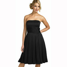 A-Line Strapless Knee Length Satin Cocktail Party Bridesmaid Prom Dress Black