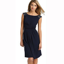 Fashion Sparkling Jewels Cocktail Party Matte Jersey Day Dress Midnight Blue