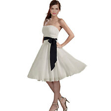 Sexy A-Line Strapless Chiffon Formal Bridesmaid Cocktail Party Dress Ivory