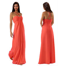 Gorgeous Long Flowing Formal Bridesmaid Dress Evening Party Night Gown Coral Red