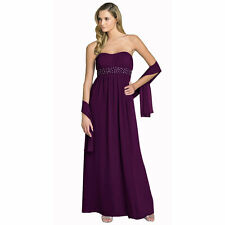 Beaded Strapless Formal Long Evening Gown Bridesmaid Dress with Shawl Plum
