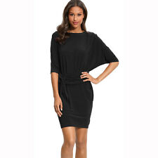 Batwing Sleeves Crewneck Jersey Party Day Night Cocktail Evening Dress Black