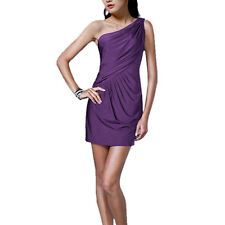 Fashion Draped One shoulder Jersey Cocktail Mini Dress Club Party Wear Purple