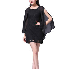 Short Chiffon Lace Cocktail Dress Club Party Wear with Fluted Sleeve Black