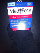 2 pairs Solids Black / White / Navy Medipeds Diabetic Socks Turn Cuff Medium