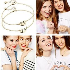 2pcs Heart Partners in Crime Best Friend BFF Chain Necklace Anklet Bracelet Ring