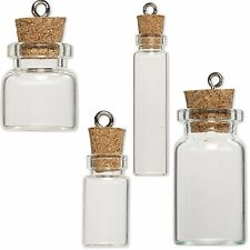 Little Clear Empty Glass Bottle Keepsake Jar Charm Pendant W/ Cork Lid & Loop