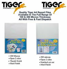Tiger Clear A4 Report Files Cut Flush Document Folder Open Top & Side Full Range