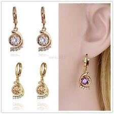 Women Fashion Crystal 18k Gold Filled Colorful Charming Dangle Hoop Earrings