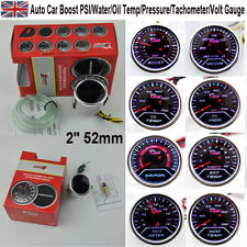 "LED 2"" 52mm Auto Car Boost PSI/Water/Oil Temp/Pressure/Tachometer/Volt Gauge UK"