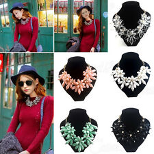FASHION FLOWER CHAIN CRYSTAL ACRYLIC CHOKER CHUNKY STATEMENT BIB COLLAR NECKLACE