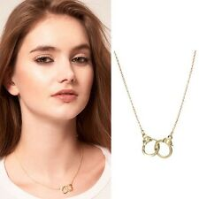 Elegant Cool Women Men Handcuff Pendant Charm Necklace Gold Silver Plated Chain