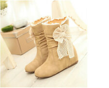 cute women's short canister round head sheath foot solid color half boots