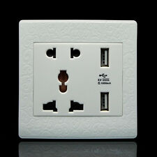 Global Dual USB Ports Wall Socket Charger Face Plate Panel Power Supply Outlet