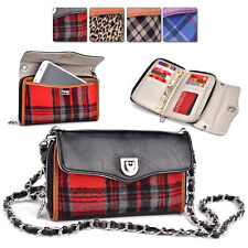 Q Kroo Smart-Phone Plaid PU-Leather Protective Crossbody Clutch Purse Organizer