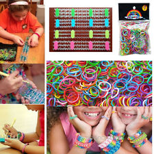NEW Rubber Elastic Rainbow Bands S Clips For Loom DIY Making Bracelet Kit Tool