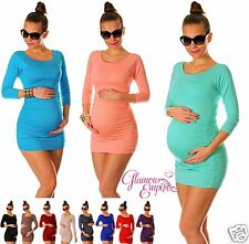 Bodycon Maternity Tunic Top Stretch Ruched Size 2-16 24h Disp 973