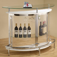 Modern Black / White Clear Front Glass Top Wine Stemware Rack Bar Pub Table Unit