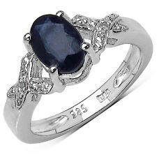 STERLING SILVER 1.00CT SAPPHIRE ENGAGEMENT RING WITH DIAMOND SET SHOULDERS