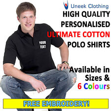 Personalised Embroidered Ultimate Cotton Poloshirt, Customised Text Uneek UC104