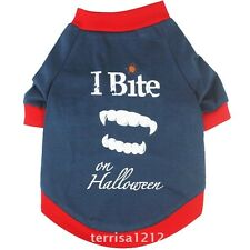 New Fashion Dog Pet Clothes Blue I Bite On Halloween Dog T-Shirts Apparel S M L