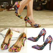Womens Stilettos Pointy Toe High Heels Pumps Floral Print Party Evening Shoes