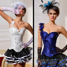 C5A sexy lace up boned corset Mini Skirts stockings Lace Gloves Plus size S-2XL