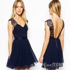 Sexy Women Summer Embroidery Backless Peplum Evening Chiffon Party Short Dress