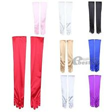 Pair Women Costume Evening Party Prom Ball Long Finger Gloves Satin Fashion