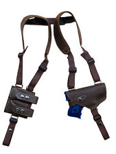 NEW Brown Leather Shoulder Holster w/ Dbl Magazine Pouch Astra Beretta Compact