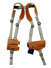 NEW Tan Leather Shoulder Holster w/ Dbl Magazine Pouch for Smith&Wesson Compact