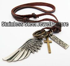 Antique Vintage Angel Wing Mens Genuine Leather Necklace Charm Pendant Choker