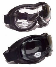 Goliath OTG [Over The Glasses] Motorcycle Biker Goggles| Clear/Tinted Lenses