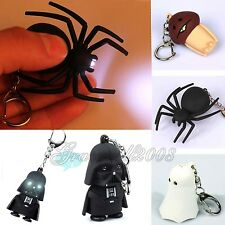 New LED Keychains Light With Sound Cute Key Ring Halloween Toy Chain Easter Gift