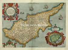 Mapa Antiguo Chipriota A Color. Ortelius. Isla De Chipre
