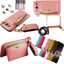 FL Luxury lanyard PU Leather Wallet Stand Case Cover for Samsung Galaxy S3 i9300