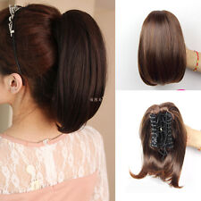 Woman's Short Straight Claw Clip Ponytail Horsetail Clip in Hair Extensions MP46
