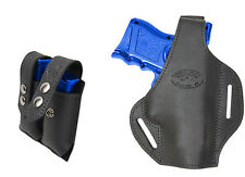 New Black Leather Pancake Gun Holster + Dbl Mag Pouch Colt Kimber Comp 9mm 40 45