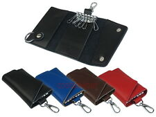 Genuine Leather 6+1 Key Chain Holder With Clip Trifold Pouch Case Wallet