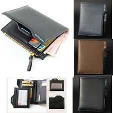 Men's vertical Leather Bifold  Zipper Wallet  Credit/ID Card Bag Purse  Fashion