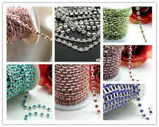 New Silver bottom colorful rhinestone 4mm close chain trim sewing craft gift DIY