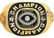 FANTASY FOOTBALL CHAMPION 24K GOLD WINNERS RING 19 STONES SIZE 6 7 8 9 10 11 12