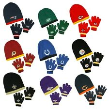 NFL Football Kids Knit Winter Hat and Gloves Set - Bears, Patriots, Eagles, Jets