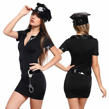 Sexy Police Woman Costumes Police Girl Officer Fancy Dress Party + Handcuffs Hat