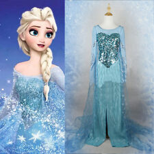 Movie Frozen Snow Queen Elsa Dress Made Cosplay Costume For Adult Fancy Dress