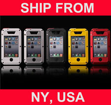 Hybrid Aluminum Gorilla Glass for iPhone 4 4S Water Resistant Extreme Metal Case