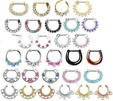 Septum Clicker Nose Daith Rings CZ Gem Nose Piercing 316L Hanger or Fake Clip on