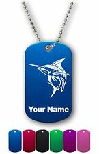 Personalized Military ID Dog Tag with Chain - MARLIN, SWORDFISH