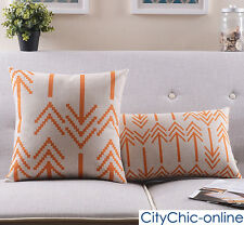 Retro Vintage Design Orange Arrows Linen Cushion Cover / Pillow Case